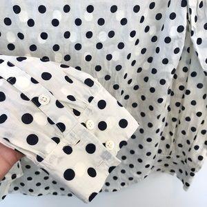 J. Crew Tops - J Crew Polka Dot Button Down Popover Collar Shirt